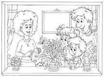 Familie thuis Stock Afbeeldingen