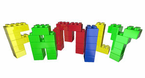 Familie Toy Blocks Letters Word Lizenzfreies Stockfoto