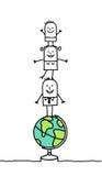 Familie u. Welt Stockbild