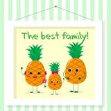 Familie van ananassen smileys, mamma, papa en jong geitje in beeldverhaalstijl Voorgesteld in het schilderen die op een gestreept royalty-vrije illustratie