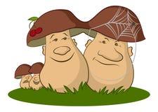 Familie van Beeldverhaalpaddestoelen vector illustratie