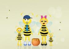 Familie van bijen Stock Foto