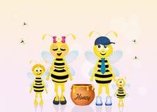 Familie van bijen met honing Stock Afbeeldingen