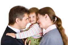 Familie van drie in bureau Stock Afbeeldingen