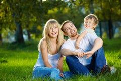 Familie van drie personen Royalty-vrije Stock Afbeeldingen