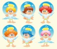 Familie van engelen met achtergrond royalty-vrije illustratie