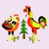 Familie van kippen en bont-boom. Stock Foto's