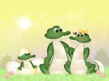 Familie van krokodillen stock illustratie