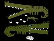 Familie van krokodillen waar één van hen schreeuwen Stock Fotografie