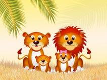 Familie van leeuwen in de savanne Royalty-vrije Stock Foto