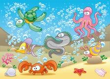 Familie van mariene dieren in het overzees Royalty-vrije Stock Afbeelding