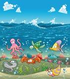 Familie van mariene dieren onder het overzees. Stock Foto's