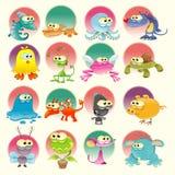Familie van Monster met achtergrond Royalty-vrije Stock Afbeeldingen