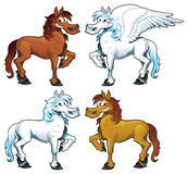 Familie van paarden + 1 Pegasus. Stock Afbeeldingen