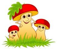 Familie van paddestoelen. Stock Afbeelding