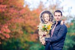 Familie van papa en jong geitje op mooie de herfstdag in het park royalty-vrije stock foto