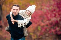 Familie van papa en jong geitje op mooie de herfstdag in het park stock fotografie