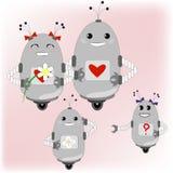 Familie van robots - ouders en hun kinderen Royalty-vrije Stock Afbeelding