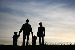 Familie van vier Royalty-vrije Stock Afbeeldingen