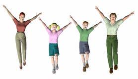Familie van vier die springen Royalty-vrije Stock Foto