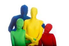 Familie van vier kleurrijke mensen Stock Fotografie