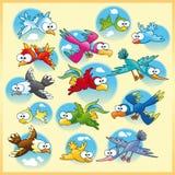Familie van vogels met achtergrond Royalty-vrije Stock Fotografie
