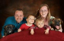 Familie van zes Stock Afbeelding