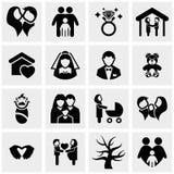 Familie vectordiepictogrammen op grijs worden geplaatst Royalty-vrije Stock Foto