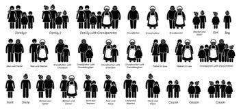 Familie, Verwanten en Verhoudingen Grote Pictogramreeks Stock Afbeelding