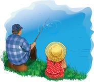 Familie visserij Royalty-vrije Stock Afbeeldingen