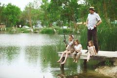 Familie visserij Stock Afbeeldingen