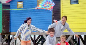 Familie vliegende vlieger bij strand stock video