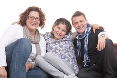 Familie von Abschluss drei zusammen stockbild