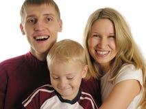 Familie von drei 2 Stockbild