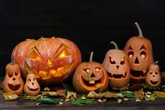 Familie von Halloween-Kürbisen Stockfoto