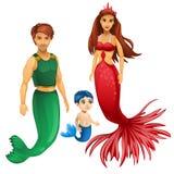 Familie von Meerjungfrauen, von Mutter, von Vater und von Kind Lizenzfreies Stockbild