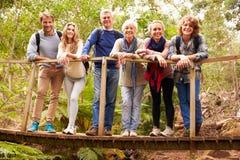 Familie von mehreren Generationen auf Holzbrücke im Wald, Porträt Lizenzfreie Stockbilder