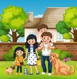 Familie voor het huis vector illustratie
