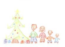 Familie voor Kerstmis Royalty-vrije Stock Foto