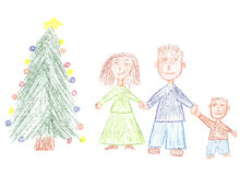 Familie voor Kerstmis Stock Foto