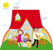 Familie vor ihrem Haus stock abbildung