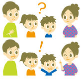 Familie, vraag en antwoord Stock Fotografie