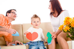 Familie zu Hause Innen lizenzfreie stockfotografie