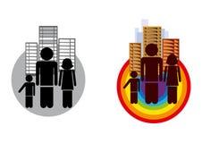 Familie zwart-wit en gekleurd pictogram Stock Afbeelding