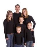 Familie in zwarte royalty-vrije stock foto's