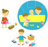 Familiebad, het water geven, het spelen royalty-vrije illustratie