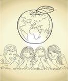 Familieband en Schets van de Wereld de Toekomstige Vectorillustratie Royalty-vrije Stock Afbeelding