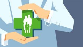 Familiebescherming Het concept van de verzekering De agent of de arts houden in het symbool van de handenfamilie royalty-vrije illustratie