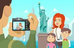Familiefoto in New York Stock Illustratie