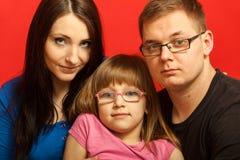 Familiefoto van moeder, dochter en vader Royalty-vrije Stock Afbeelding